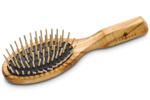 Small Oval Massage Hairbrush made of Olive Wood, perfect for medium length to long, straight or wavy Hair, for an intense Massage, 17.5 cm long
