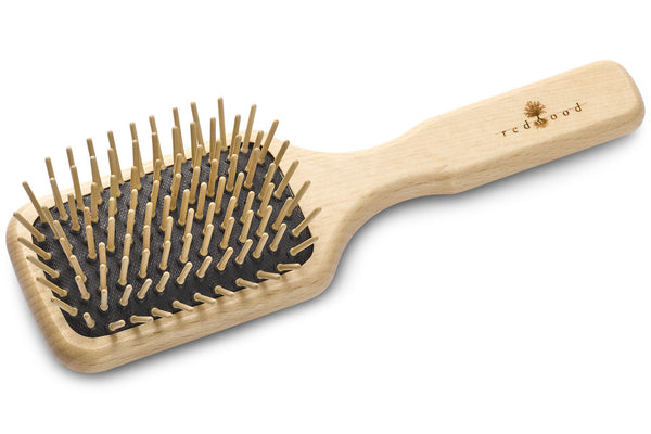 Large Antistatic Massage Hairbrush made of waxed Beech, perfect for medium length to long, straight or wavy Hair, for an intense Massage, 19.5 cm long