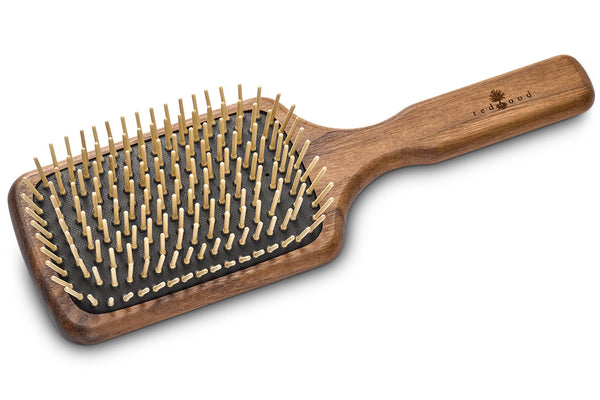 Large Massage Hairbrush made of waxed Walnut Tree, perfect for medium length to long, straight or wavy Hair, for an intense Massage, 25.5 cm long