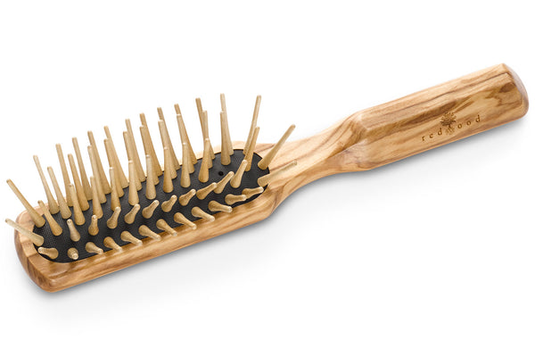 Slender Antistatic Massage Hairbrush made of Olive Wood, perfect for medium length to long, wavy or curly Hair, 20 cm long