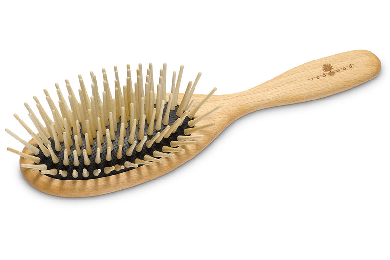 Oval Antistatic Massage Hairbrush made of waxed Beech, perfect for medium length to long, wavy or curly Hair, 22 cm long