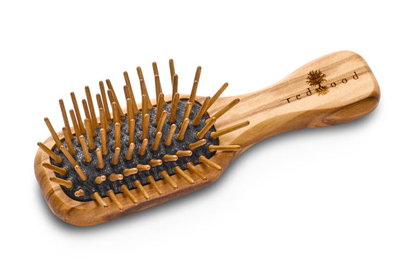 Mini Antistatic Massage Hairbrush made of Olive Wood, perfect for medium length to long Hair, 11.5 cm long