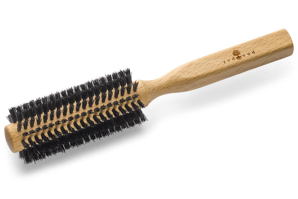 Round Hairbrush made of Beech Wood, perfect for short to medium length, straight Hair, 45 mm in diameter, 21 cm long