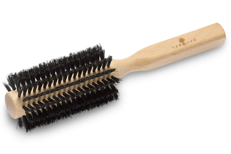 Round Hairbrush made of Beech Wood, perfect for short to medium length, straight Hair, 55 mm in diameter, 21 cm long