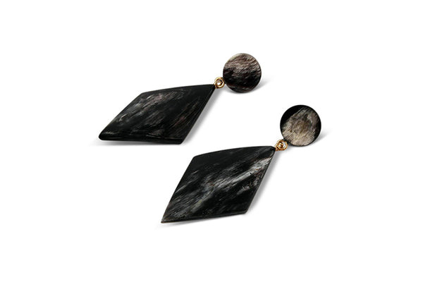 Elegant Rhomb Earrings made of Dark Horn
