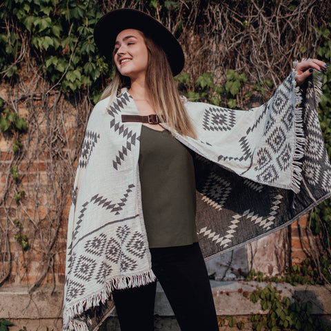 Dancing Cape - White Geometric