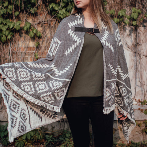 Dancing Cape - Dark Grey Geometric