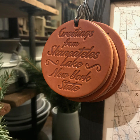 Leather Skaneateles Ornament