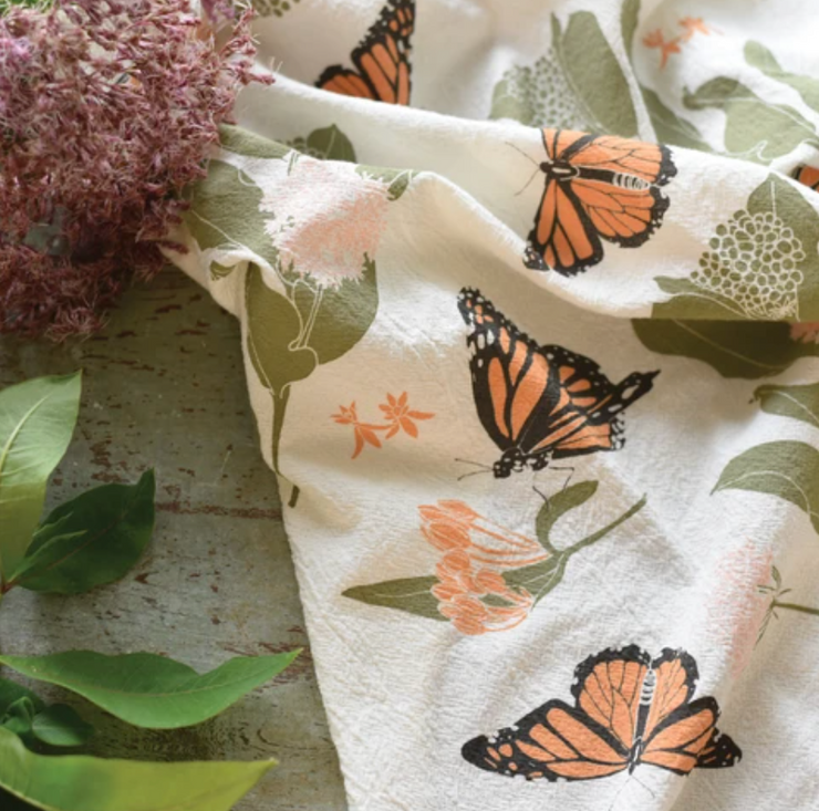 Monarchs + Milkweeds Kitchen Towel