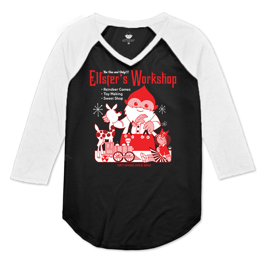 Santa's Workshop Women's Raglan 3/4 Sleeve