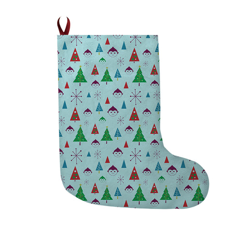 Elf Tree Christmas Stocking in Light Blue