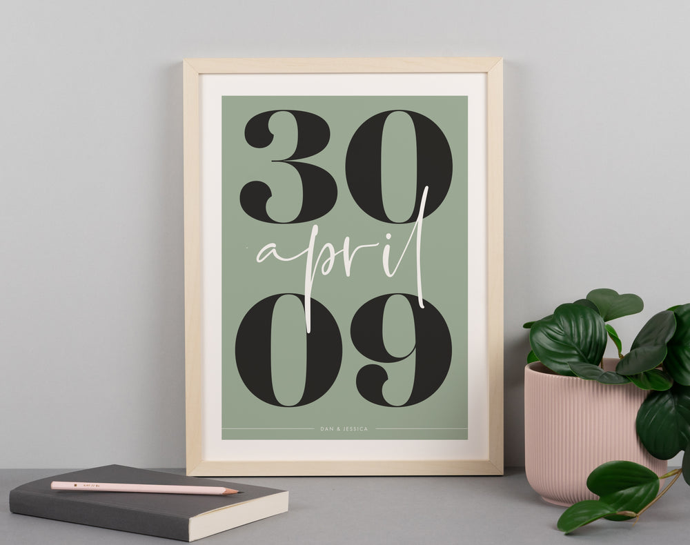 Green Personalised Date Print
