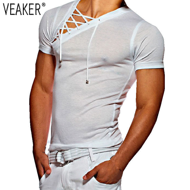 Male sexy bandage hollow out White Short Sleeve t Shirt - i-Deals Store