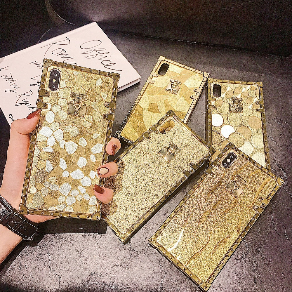 Hot 3D Luxury Square Gold Glitter Case for iphone - i-Deals Store