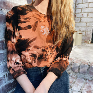 Bleach Dyed Black Peony Crew Neck Sweatshirt