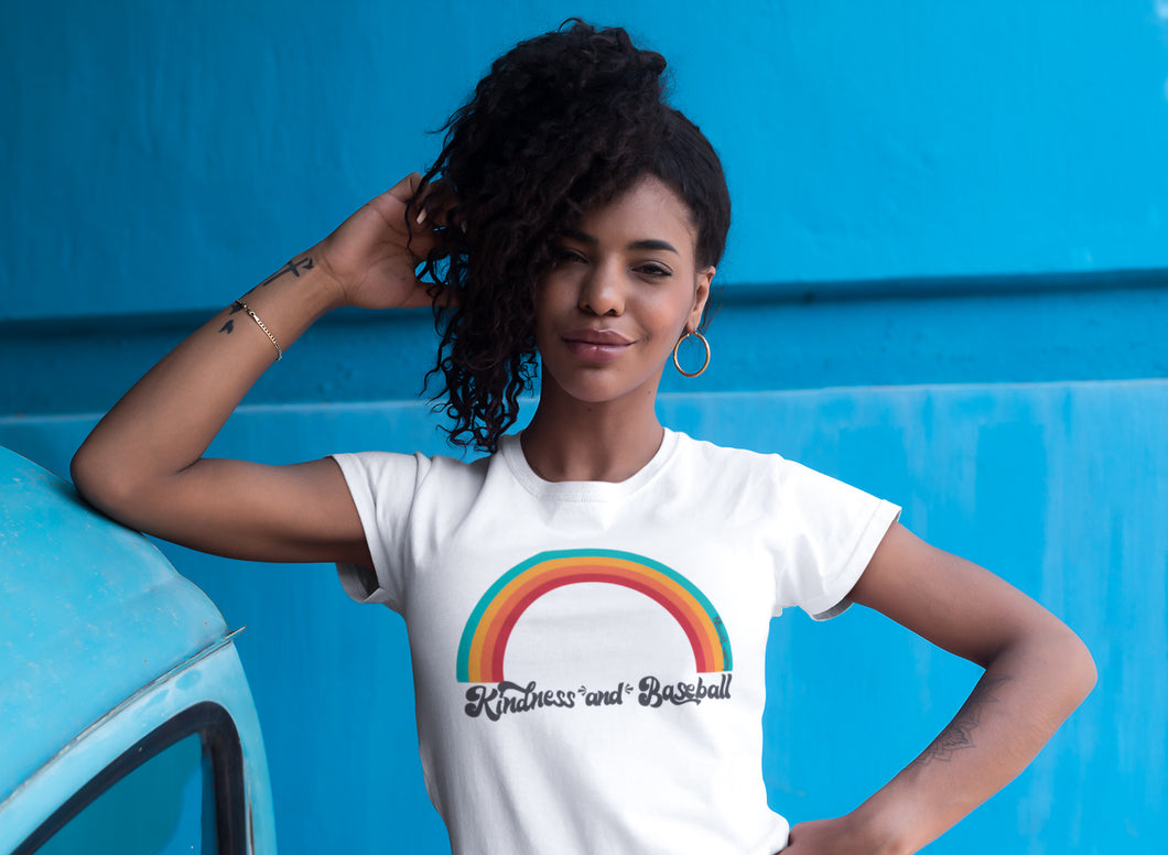 Kindness and Baseball Rainbow | Adult Unisex Tee