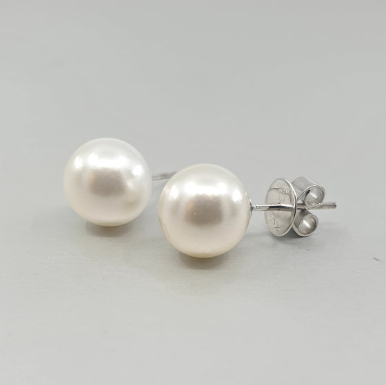 'Studs' South Sea Pearl 10.00mm Earrings in 18ct White Gold