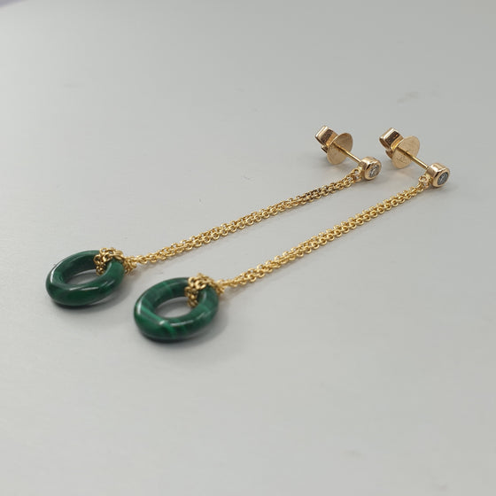 'Bundova' Malachite & Diamond Earrings