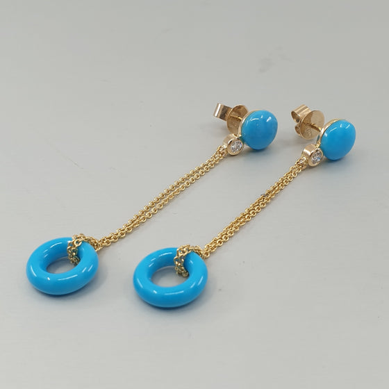 'Bundova' Turquoise & Diamond Earrings