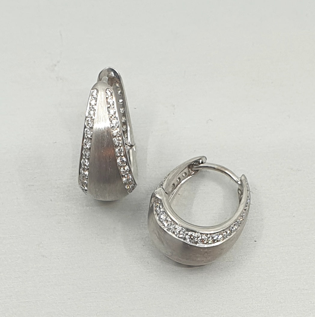 'Bundova' Diamond Clip Earrings in 18ct White Gold