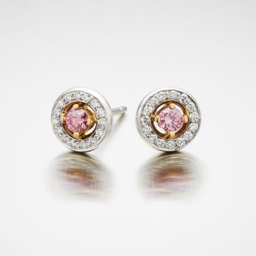 'Mignon' Pink Diamond Stud Earrings