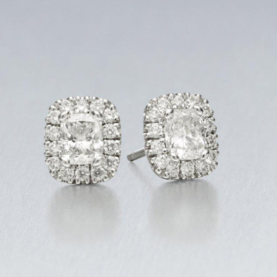 'Valentin' Stud Earrings in Platinum with Cushion Cut Centre Diamonds