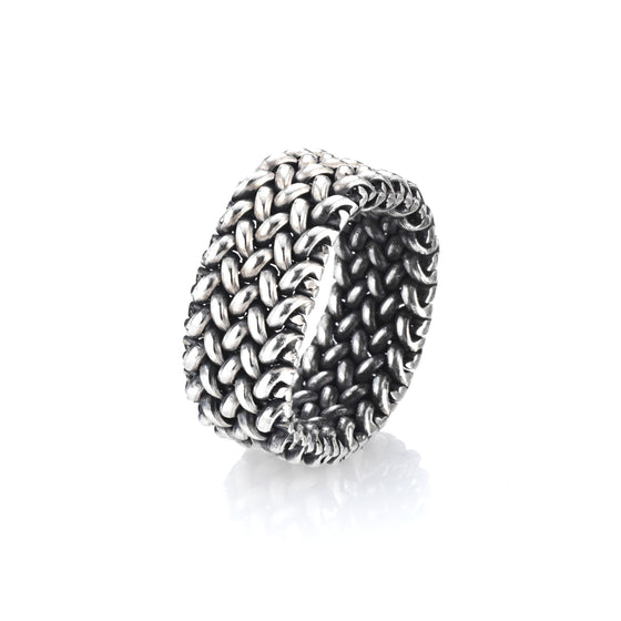 A Small silver mesh ring. Wearable, comfortable and unique. Suitable for any occasion.