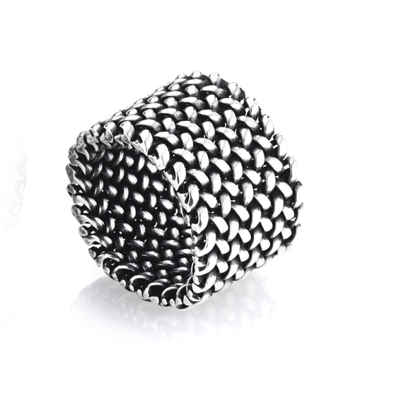 A large silver mesh ring. Wearable, comfortable and unique, suitable for any occasion.