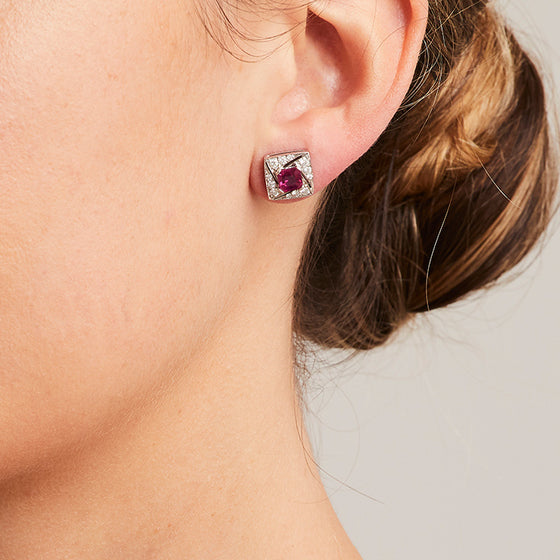 'Arya' Ruby and Diamond Stud Earrings