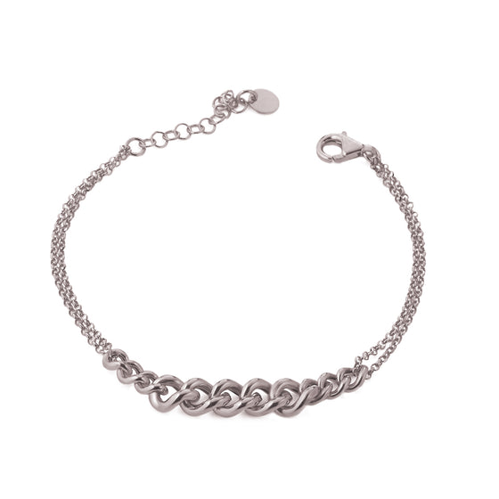 Stunning silver bracelet with 11 graduating heavy links set centrally.