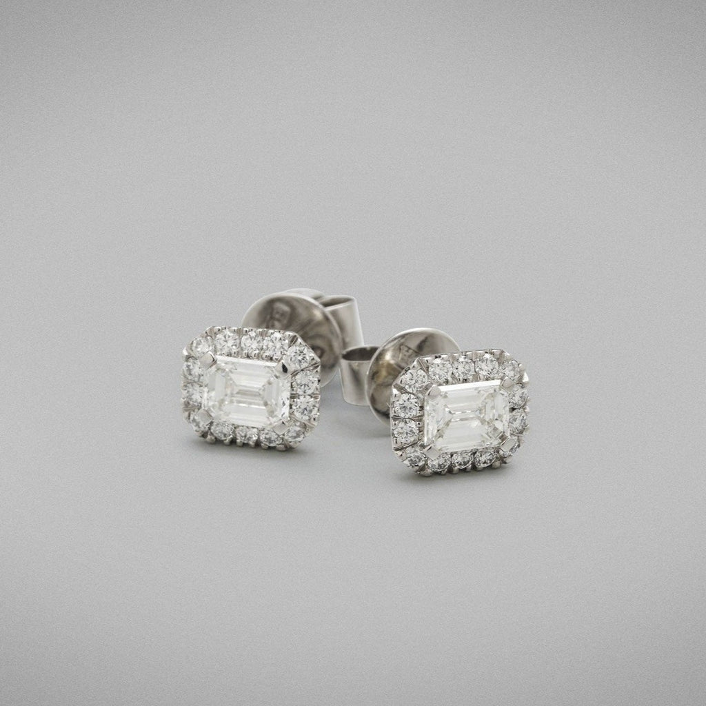 'Valentin' Diamond Stud Earrings with Emerald Cuts in Platinum.
