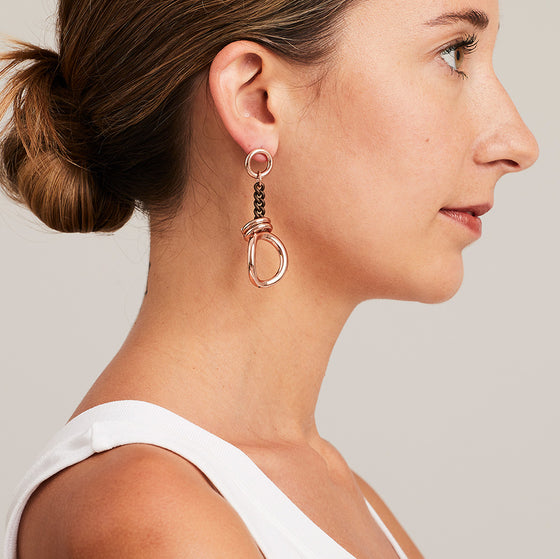 'Marcello' Two-Tone Chain Drop Earrings