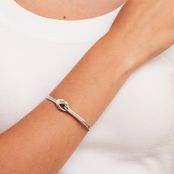 'Marcello' Silver Knot Bangle