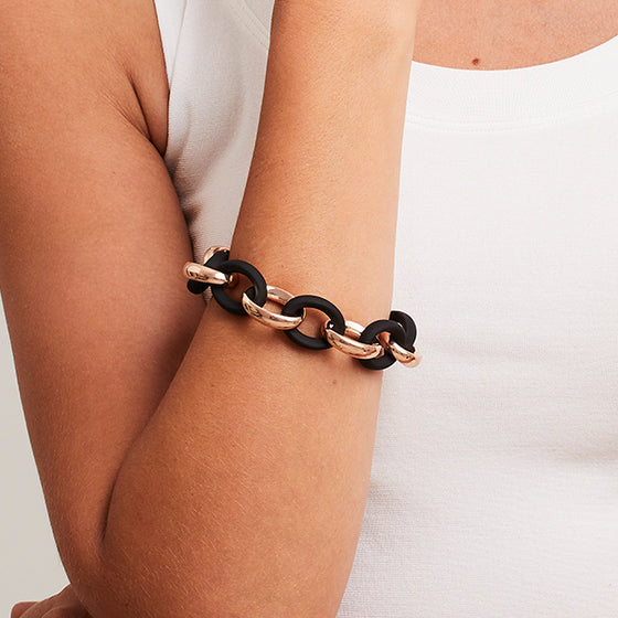 'Marcello' Two-Tone Oval Link Bracelet