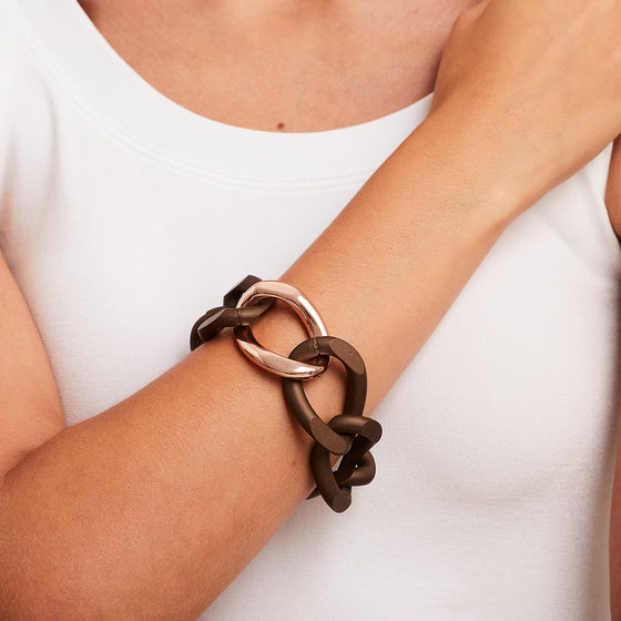 'Marcello' Oversize Brown Two-Tone Link Bracelet
