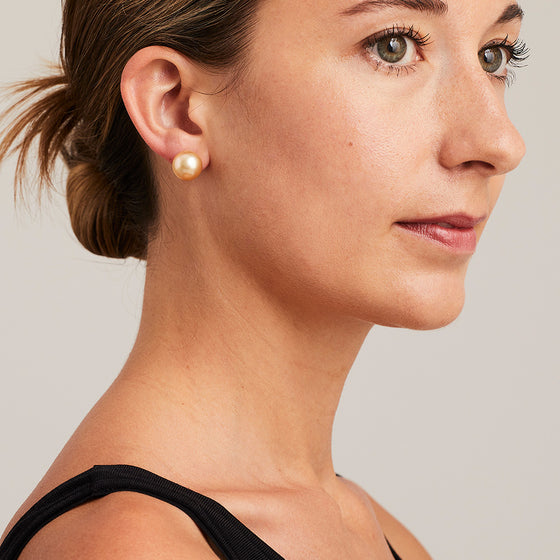 'Stud' Golden Cultured South Sea Pearl Earrings