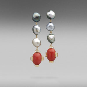 'Krest' Tahitian Keshi Pearl & Precious Coral & Diamond Earrings in 18ct Yellow Gold