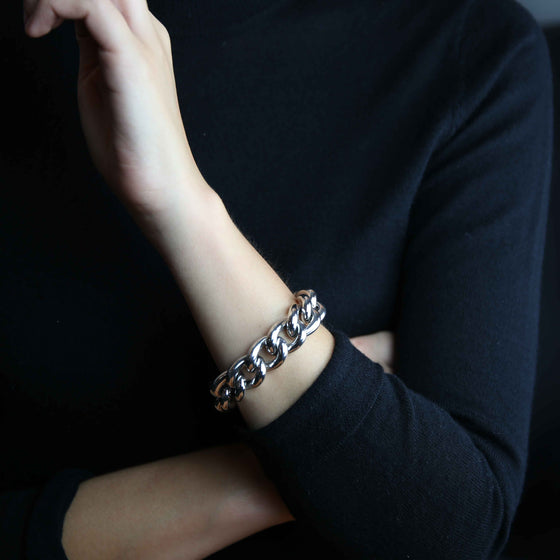 'Marcello' Heavy Curb Link Bracelet in Silver