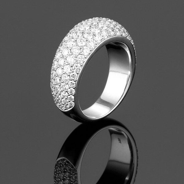 A BUNDA 'Bomb' diamond ring made in 18 carat white gold, pave set with round brilliant diamonds.