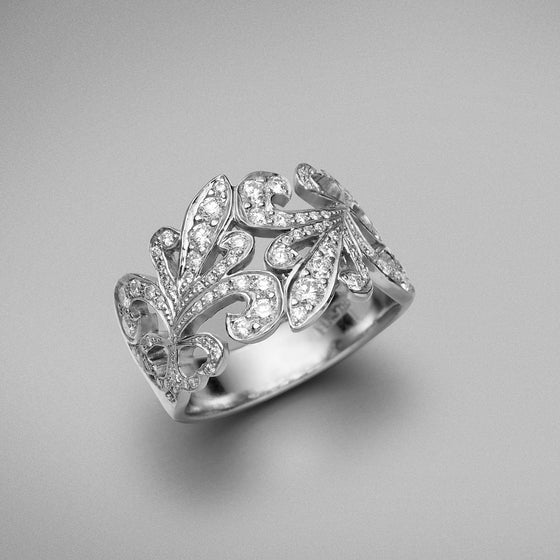 'Tanara' Fleur de Lys Diamond Ring in 18ct white gold