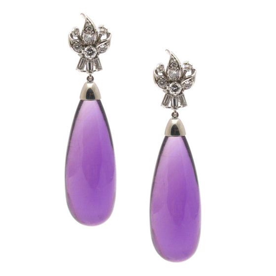 'Retro' Amethyst and Diamond Earrings