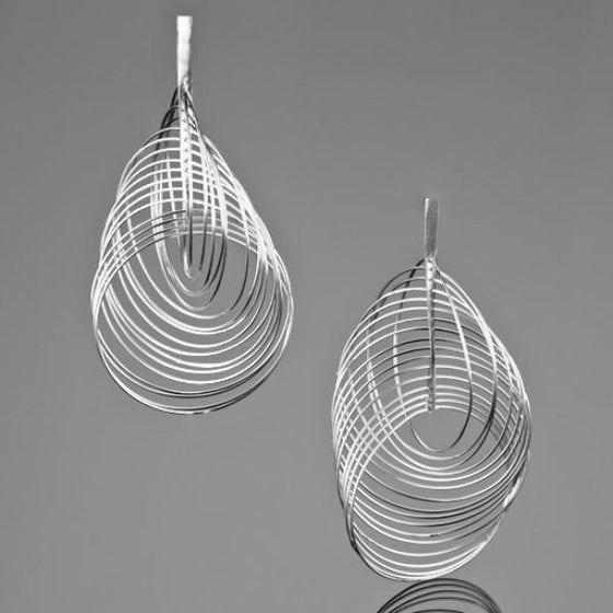 A BUNDA 'Sundance' Silver Earrings Finished in Polished Silver