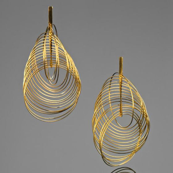 A BUNDA 'Sundance' Silver Earrings Finished in Polished Gold