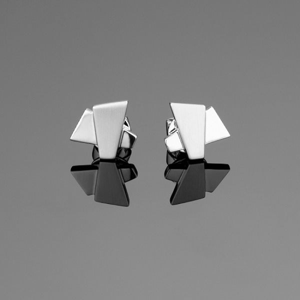 'Apus Cross' Stud Earrings in 18ct white gold.