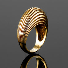 The 'Bundova' ribbed dress ring in 9ct yellow gold is a fantastic piece that adds sophistication on all occasions. The perfect right hand ring. Wear with our 'Bundova' 9ct gold earrings to add impact.  Size 'L' currently available. Can make to order. Appox weight 6.90 grams