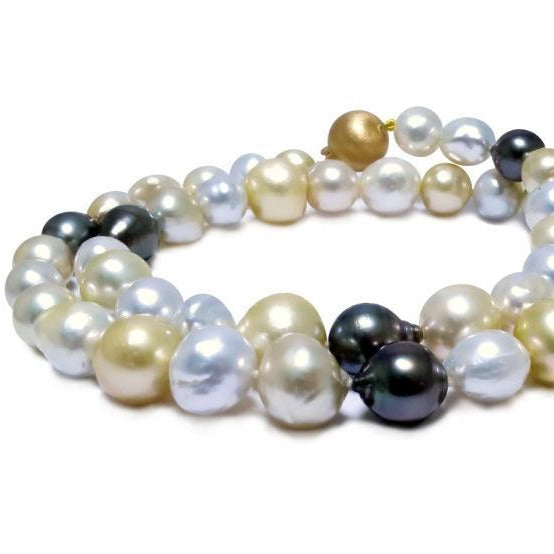 Multi 'Strand' of South Sea and Tahitian Baroque and Circle Pearls