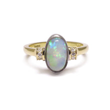 'Dorado' White Opal & Diamond Ring in 18ct Yellow and White Gold