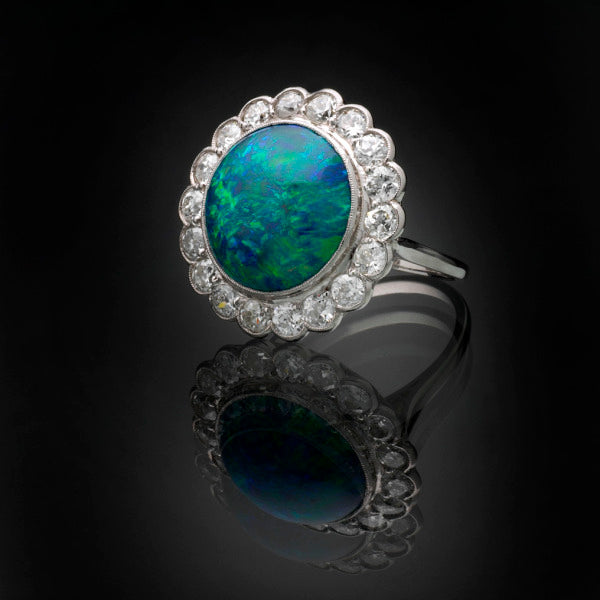 'Cluster' Black Opal & Diamond Ring in Platinum