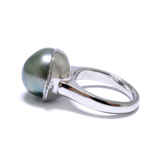 'Caelum' Tahitian Keshi Pearl & Diamond Ring in 18ct White Gold