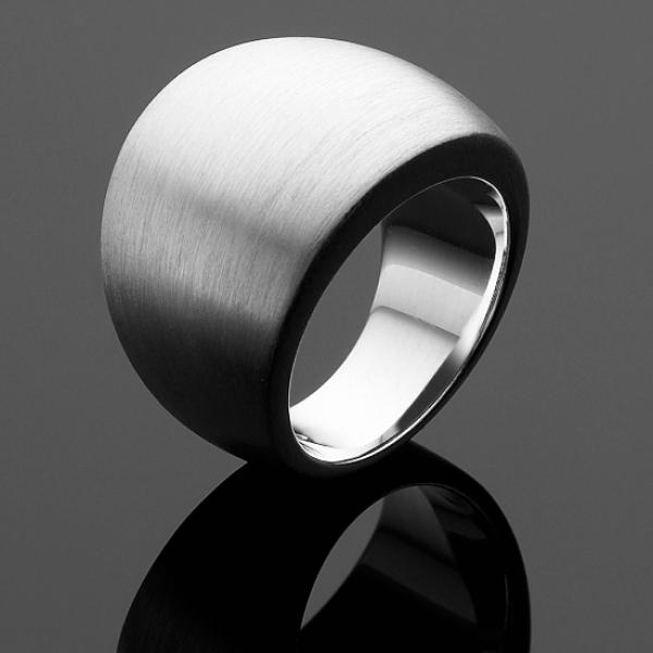 A BUNDA 'Dome' Ring in Brushed Finished Silver